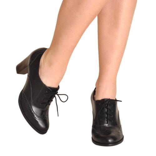 Sapato Oxford Clássico Preto Salto 8