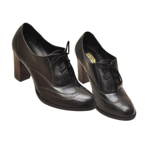 Sapato Oxford Classico Feminino Salto 8cm Preto Oxford Boutique