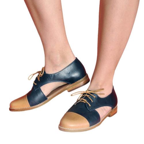 Sapato Oxford Feminino Aberto Azul e Marrom 2 Oxford Boutique