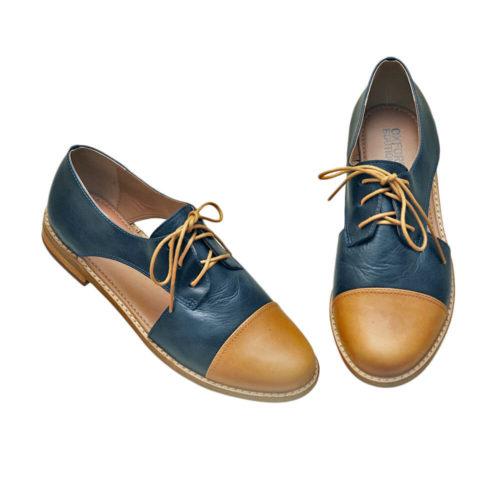 Sapato Oxford Aberto Azul e Nude