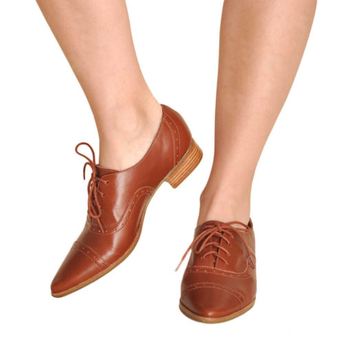 Sapato Oxford Bico Fino Pinhão