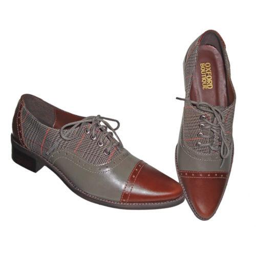 Sapato Oxford Xadrez Bico Fino