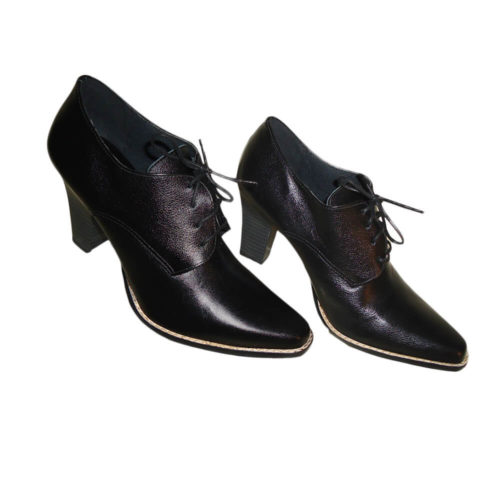 Sapato feminino Oxford Derby Preto salto 8.5 Oxford Boutique
