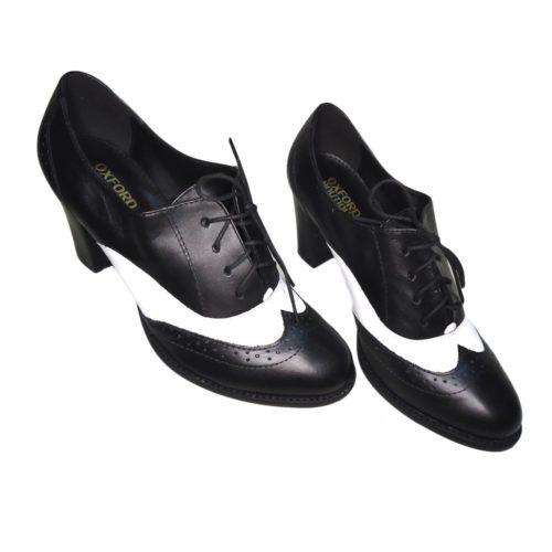 Sapato Oxford Black and White com salto