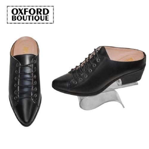 Sapato Derby Mule Preto Com Salto